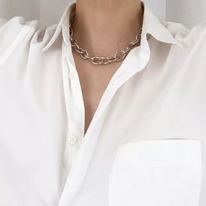 vintage 90s chunky silver chain link necklace